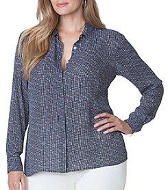 Chaps® Plus Size Dot-Print Georgette Shirt