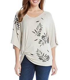 Karen Kane® Leaf Pin-Tuck Top