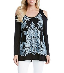 Karen Kane® Cold-Shoulder Lace Overlay Top