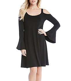 Karen Kane® Cold Shoulder Flare Sleeve Dress