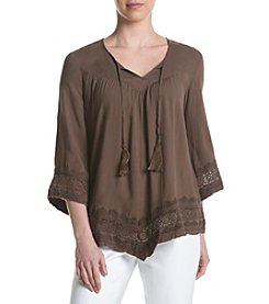 Karen Kane® Embroidered Crochet Trim Top