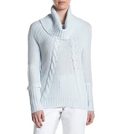 Ivanka Trump® Cowl Neck Cable Knit Sweater