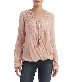 Skylar & Jade™ Lace Trim Wrap Top