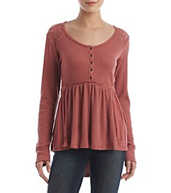 Skylar & Jade™ Crochet Applique Henley Top