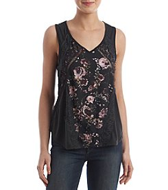 Skylar & Jade™ Floral Lace Trim Top
