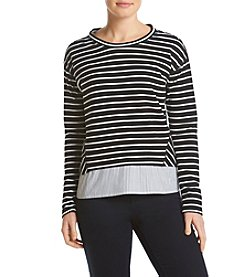 Fever™ Striped Layered Look Top