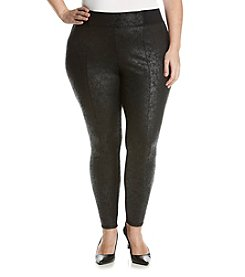 Jones New York® Plus Size Distressed Foil Printed Ponte Leggings