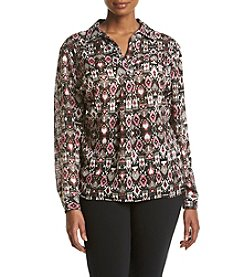 Jones New York® Plus Size Tapestry Print Blouse