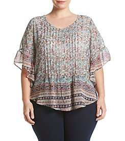 Oneworld® Plus Size Paisley Print Peasant Top