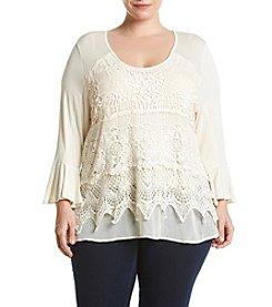 Oneworld® Plus Size Bell Sleeve Crochet Front Tunic Top