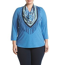 Oneworld® Plus Size Solid Top With Attached Fringe Scarf