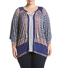 Oneworld® Plus Size Scoopneck Peasant Top