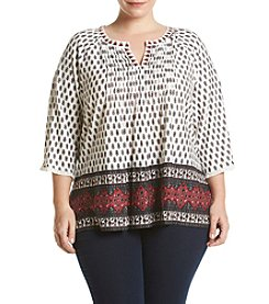 Vintage America Blues™ Plus Size Jolita Printed Peasant Top