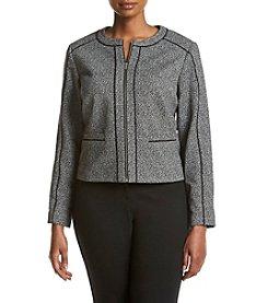 Calvin Klein Plus Size Zip Front Marled Jacket