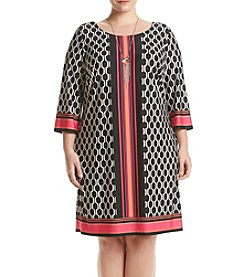 AGB® Plus Size Border Print Dress