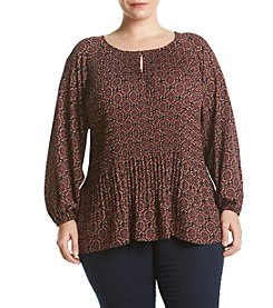 Jones New York® Plus Size Medallion Print Pleat Front Peasant Top