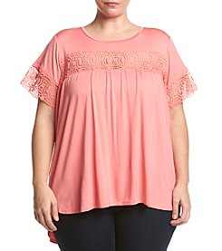 Cupio Plus Size Crochet Trim Tee