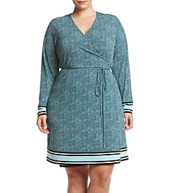 MICHAEL Michael Kors® Plus Size Stingray Border Print Wrap Dress