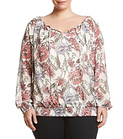 AGB® Plus Size Blouson Tie Neck Top