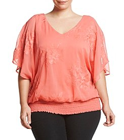 AGB® Plus Size Embroidered Blouse