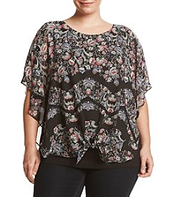 AGB® Plus Size Tie Front Top