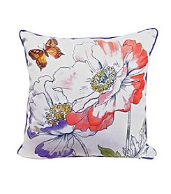 LivingQuarters English Garden Butterfly And Flowers Pillow