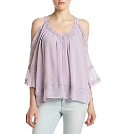 Sequin Hearts® Cold-Shoulder Peasant Top