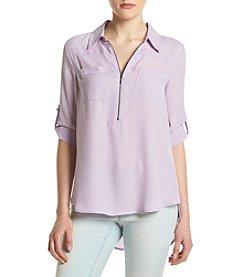 Sequin Hearts® Slit Back Utility Shirt