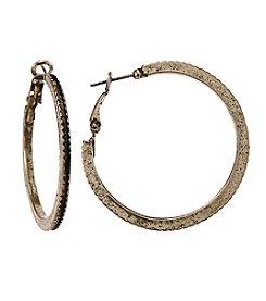Ruff Hewn Clutchless Hoop Pierced Earrings