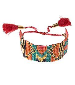 Ruff Hewn Wide Seed Bead Bracelet With Fringe Tassel Closure