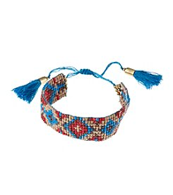 Ruff Hewn Narrow Seed Bead Bracelet With Fringe Tassel Closure