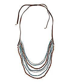 Ruff Hewn Seven Row Layered Suede And Bead Necklace
