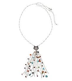 Ruff Hewn Multi Color Beaded Tassel Necklace