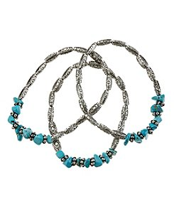 Ruff Hewn Three Silvertone Beaded Stretch Bracelets