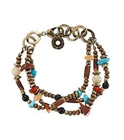 Ruff Hewn Three Row Wood Bead Bracelet
