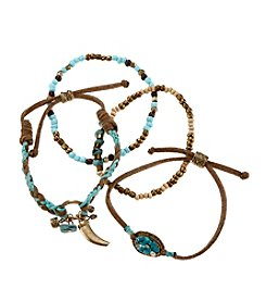 Ruff Hewn Four Bead And Cord Bracelet Set