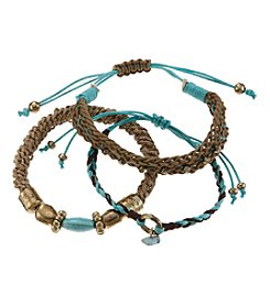 Ruff Hewn Three Cord And Nugget Bracelet Set