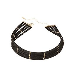 Relativity® Multi Row Choker Necklace With Bead Accents