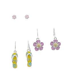 Studio Works® Stud, Flip Flop And Flower Trio Earring Set