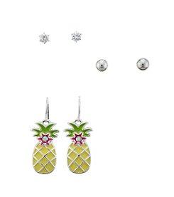 Studio Works® Stud And Pineapple Trio Earring Set