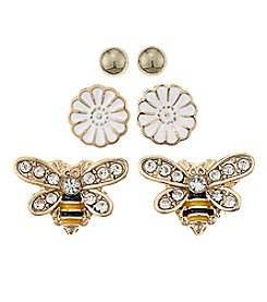 Studio Works® Flower And Bee Trio Earrings