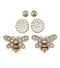 Studio Works® Flower And Bee Trio Earrings