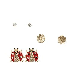 Studio Works® Flower And Ladybug Trio Earrings