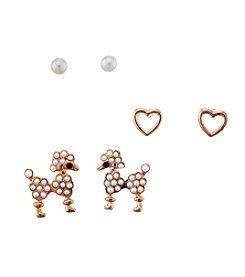 Studio Works&Reg; Post Stud And Pearl Poodle Trio Earrings