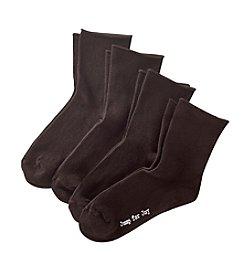 HUE® Roll Top 4-Pack Shortie Socks