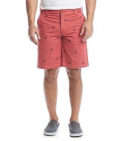 Izod® Men's Flat Front Crab Printed Schiffli Shorts