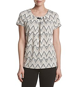 Studio Works® Print Pleated Bar Neck Blouse