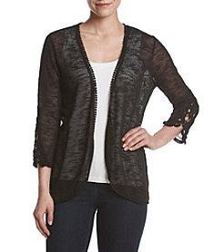 Studio Works® Rounded Hem Crochet Trim Cardigan