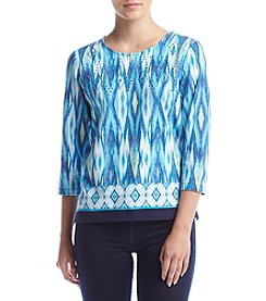 Alfred Dunner® Petites' Ikat Border Knit Top