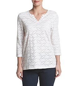 Alfred Dunner® Petites' Lace Texture Knit Top